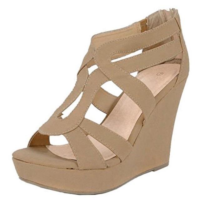 2ef62f95132c Top Moda Women s Strappy Open Toe Platform Wedge