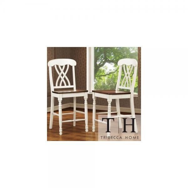 Tribecca Home Mackenzie White Counter Height Chair Set Of 2 Accent Chairs Dining Room