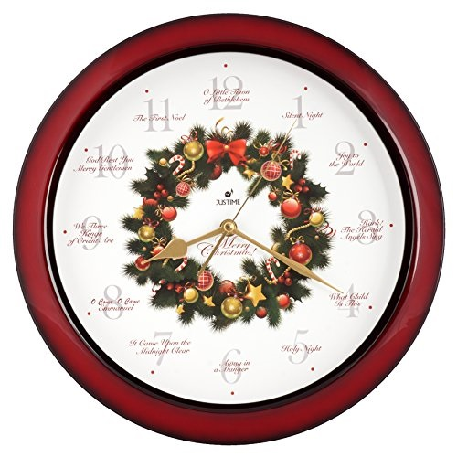 Justime Elegant 14inch 12 Song Of Carols Christmas Wreath Melody Wall Clock Sweep Silent Quartz Home Deco Wr Red