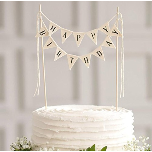 Limitless LIMITLESS Happy Birthday Cake Topper Banner Handmade Ivory Pennant Flag With Wooden Polls Perfect For Cakes