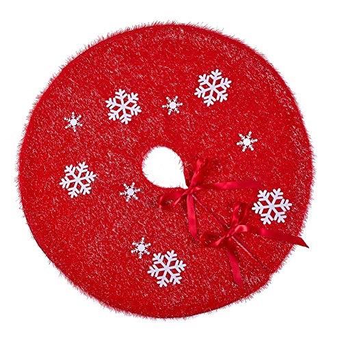 MACTING Glitter Xmas Tree Skirt with 10pcs White Movable Non-Woven Snowflakes, Christmas Tree